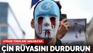 Görüşme öncesi Uygur Türklerinden protesto: Çin rüyasını durdurun