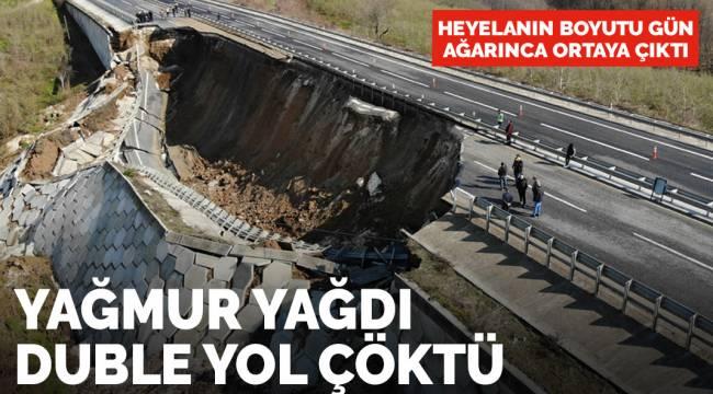 Yağmur yağdı, Düzce-Zonguldak (DUBLE) yolu tamamen çöktü